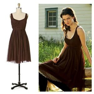 Anthropologie Meadow Brown tulle dress. (Q44).